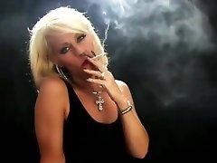 Beautiful mature blonde simply smoking