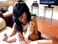 Big Tit Ebony Babe Tugging And Uses Tits