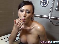 Freshest puking cumshots TS talks dirty and tugging big cock