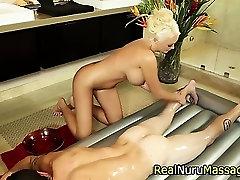 Blonde masseuse gets wam
