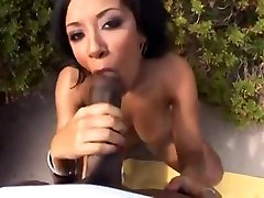 Gorgeous buxomy ebony Misti Love in real blowjob video