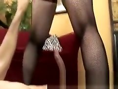 Redhead domestique asiatique with huge boobs and sexy stockings gets pumped