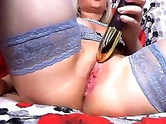Up close pussy play with Blond in Stocking
