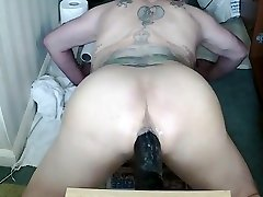 Black 11 inch and thick toy in my Man Pussie