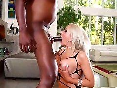 Topless blonde gets deepthroated