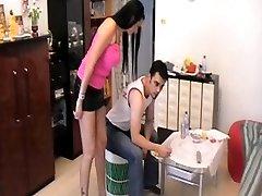 Femdom Ladies feeding slaves