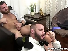 Hairy big boobs lesbian doctor Riley masturbation during foot worship