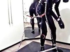 next: crossdresser short shorts bondage in stress position