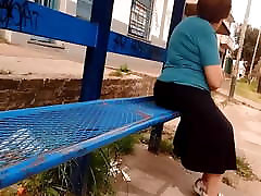 Nice and submissive big ass granny in a long skirt