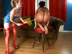 Curvy macen butt Slave in Harness Outfit