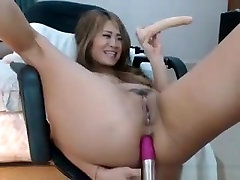 Asian Camgirl Masturbates Anal And Pussy By Dildos On Webcam