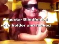 Augusta- pat tata massage wife blindfolded and fucked while dildos panties with a long holder