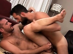 Hairy bear shoots his load after fucking ass