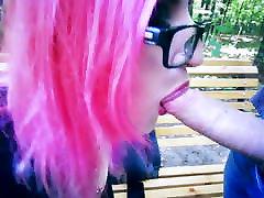 Goth girl in corset and heels risky public facial cum