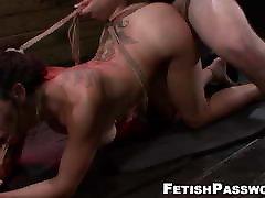 Latina Lola Love throated before BDSM doggystyle
