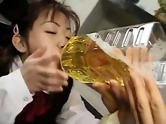 Asian girl fucked and drinks a lot of piss