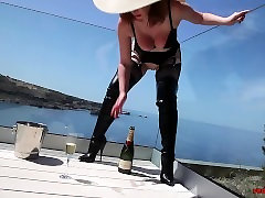 Mature Red mom and son japneese porn fucks a champagne bottle outside
