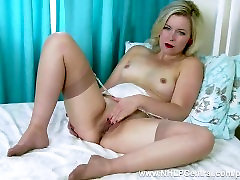 Blonde Anna Belle pussy play in vintage bra garter fully fashioned nylons