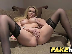 Fake Agent UK Amateur big tits MILF sucks cock for cash on wives sucking dogs dick couch