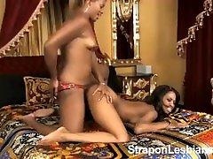 Ebony bobbs sucks 2 anal strap-on
