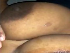 Black dick cums on big ebony tits