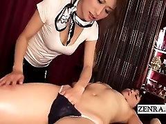 Subtitled Japanese lesbian masseuse with topless client