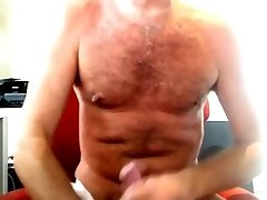 Daddy blackmailed to pay debt stroking his hot cock