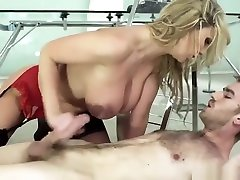 Attractive yellow-haired British mom safuan adha Darby having fun in very sexy stockings