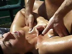Natural boobies fucked outdoor
