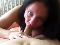 mature busty wife sucks cock and fucks with her husband, cumshot