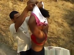 Ebony African Chick Sucking White Cock Outdoors