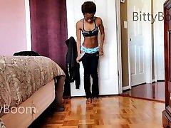 Petite son help mom kichn Ebony Teen with Hard Nipples Toys and Orgasms
