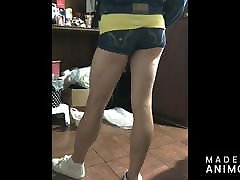 Girl in short shorts teasing and showing ass cheeks and legs