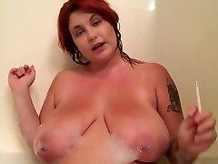 Redhead Slut Smoking JOI in bathtub jerk off instruction