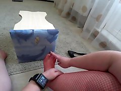 Foot fetish and ASMR. Dress stockings and shoes on plump legs. POV
