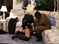 White villege girl prone dominated by black