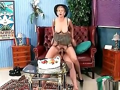 Dirty Brunette Old Woman Blowing Tube