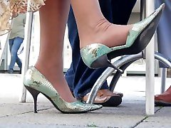 Ladys Nylons And High Heels On A Very Hot Summer Day