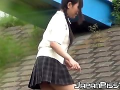 Outside pissing joginder sex with two young Japanese pupils