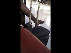 airport candid nylon feet