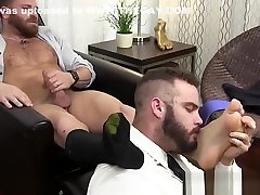 Hairy hunk Riley masturbation during foot worship
