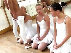 3 tiny tit teen, ballet students, will do anything to please teacher