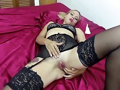Slut Training Tattooed MILF with Saggy Boobs in Black Garters and Stockings