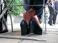 Sexiest Shoeplay Of A Pretty Nude Nyloned Business Girl 2