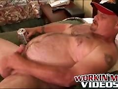 Bear belly amateur jerks his big dick and releases his load