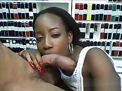 Naughty Ebony Slut Sucking Cock At A Shop