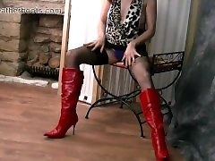 Kinky brunette Milf teases tits blackmail compilation legs panties and sexy leather boots