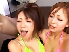 Hot all internal creampie compilations Kanako and friend get a jizz bomb while they are French kissing