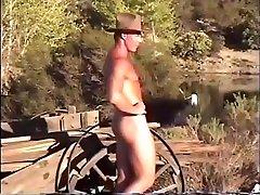 Hot Cowboy jerks off outside
