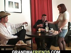 Hairy redhead granny breastfeeding to grandpa granny nipple job after poker game